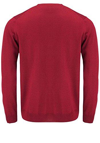 OLYMP Strick Pullover V-Ausschnitt extrafeine Merinowolle mittelrot Rot