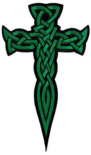 Cypress Collectibles Embroidered Patches Aufnäher zum Aufbügeln, keltisches Kreuz, Dolch, grün, bestickt, irisches Kruzifix