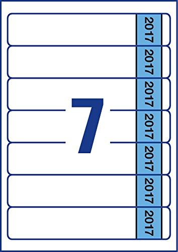 Avery L4760J17-20 Rectángulo redondeado Permanente Azul, Color blanco 140pieza(s) - Etiqueta autoadhesiva (Azul, Blanco, Rectángulo redondeado, Permanente, 38 x 192 mm, A4, Archivador de anillas)