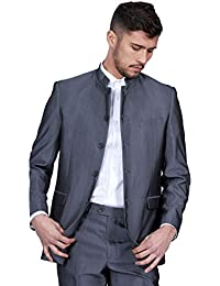 Marc Darcy Mens 2 Piece Grey Grandad Chinese Beatles Collar Casual Business Wedding Suit Formal Blazer