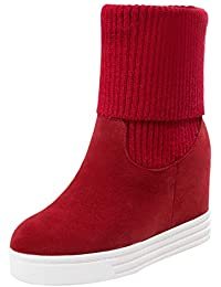 b613f6103 kittcatt Mujer cuña Botines Plateau Wedge Ankle Boots con Punto Caliente  Guantes