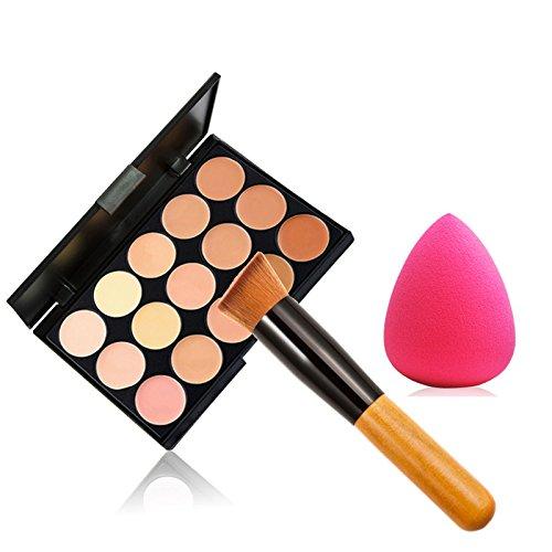 Hrph Mode Femmes Maquillage professionnel 15 Couleur Cosmetique Contour Palette Correcteur Maquillage + Eponge + Concealer Brush