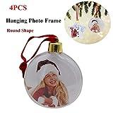 4 piezas de marco de fotos colgantes de Navidad, adorno colgante de árbol de Navidad, marco de fotos transparente bola colgante decoración para el hogar DIY fiesta regalos...