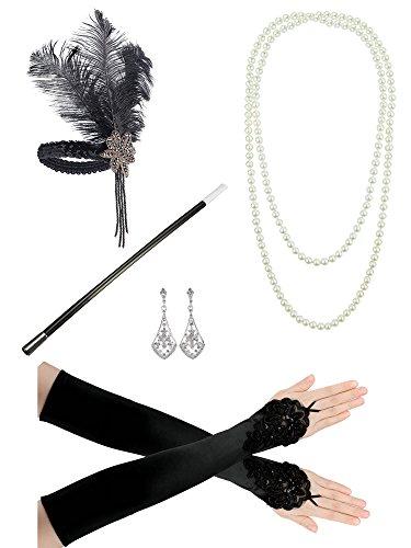 1920er Jahre Zubehörset Flapper Kostüm Charleston ausgefallene Accessoires-1920er Jahre Flapper Stirnband Perlenkette Satin Handschuhe (Fingerlose Handschuhe Stil)