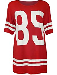 Womens 85 Print Short Sleeve Baseball Jersey Ladies Baggy T-Shirt Top - Sizes 8 - 14
