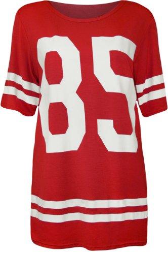 WearAll - Damen '85' Druck Kurzarm Baseball Trikot T-Shirt Top - Rot - 36-38 -