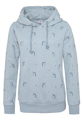 SUBLEVEL Damen Einhorn Allover-Print Sweathoodie - Unicorn Freizeit Kapuzenpullover middle-blue M