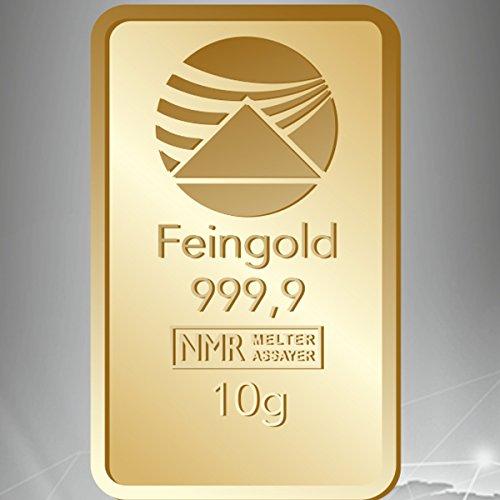 Goldbarren 10 g 10g Gramm Scheckkartenformat Feingold 999.9 geblistert Nadir Gold LBMA-zertifiziert
