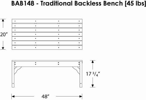 CASA BRUNO Gartenbank ohne Lehne, 122 cm breit, aus recyceltem Polywood® HDPE Kunststoff, weiss – kompromisslos wetterfest - 4