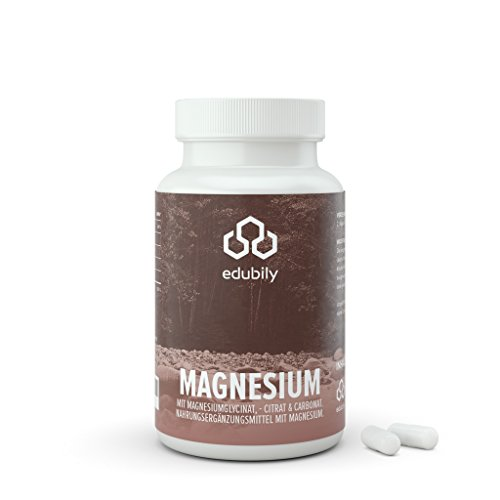 Magnesium-Kapseln Mit Magnesiumglycinat, Citrat & -Carbonat Ohne Magnesiumstearat Mit Vitamin B6 (P-5-P) Vegan (90 Kapseln)