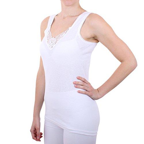 2er Pack Damen Hemd mit Spitze Feinripp aus 100% Baumwolle (Unterhemd, Oberteil) Nr. 327/0011 - 2