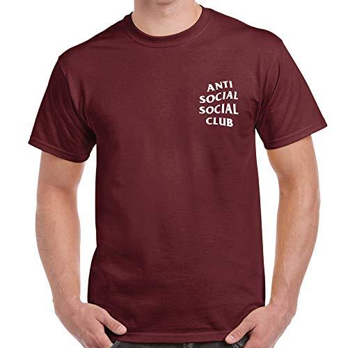 Anti Social Social Club T-Shirt Pocket Print ASSC New Unisex Shirt (X-Large, Maroon) -