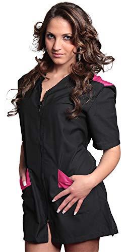 Tcd ricamo gratuito camice casacca divisa estetista massaggi asilo, colore nero profilo fuxia (m, ricamo si colore fuxia)