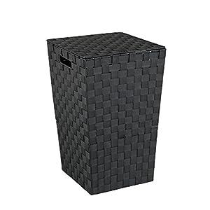 Wenko 22278100 Wäschetruhe Adria Square Fassungsvermögen 48 L, Polypropylen, schwarz, 33 x 33 x 53 cm
