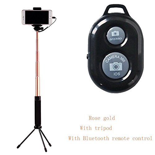 Selfie Stick für iPhone6 ​​/ 7/8 / X Gold Reise Mini keine App keine Batterien , Rose gold , 24cm