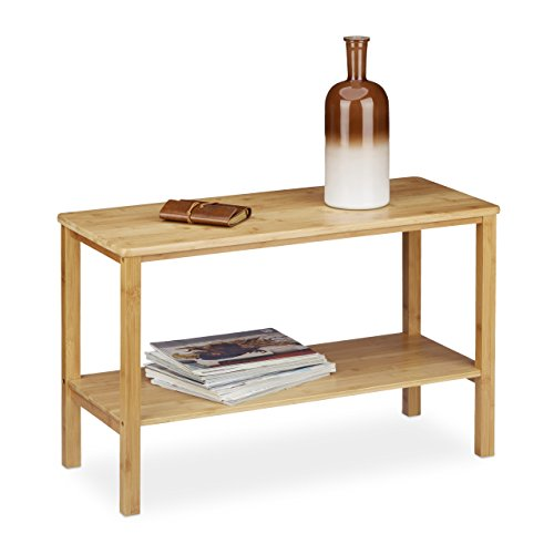 Relaxdays Table basse en bambou RUSTICO rectangle table de salon 80 x 34 table enfant bois 1 niveau de rangement HxlxP 50 x 80 x 34 cm, nature