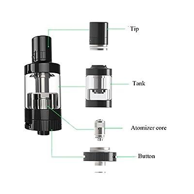 0 mg Nikotin, Askliy 2200mAh ET50 Elektronische Zigarette 50W(Schwarz Kit) E-Zigarette Doppelset und Premium E-liquid von Askliy