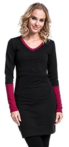 Happy Mama. Damen Tunika Sweatshirt Stillzeit Umstandsmode Kontrastdetails. 514p Schwarz