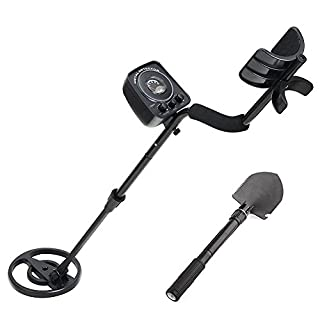 Amzdeal Lightweight Metal Detector with All-Metal & Discrimination Function Classic Metal detector with Waterproof Search Coil Including Folding Shovel and Canvas Bag