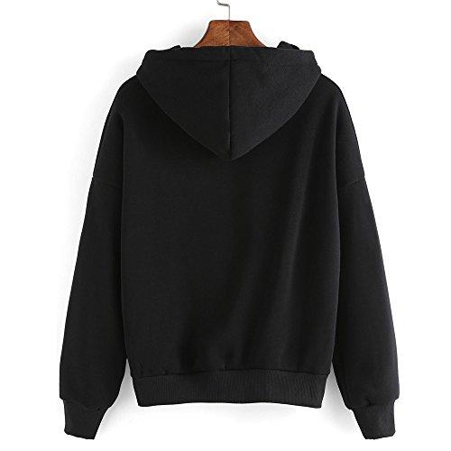 Hmeng Damenmode Sweatshirt, Langarm Pullover Hoodie Pullover mit Kapuze Pullover Tops Bluse (Schwarz, XL) - Jugend Hoody Sweatshirt