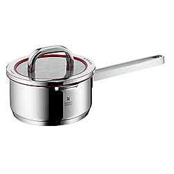 WMF Function 4 Stielkasserolle mit Glasdeckel Ø 16 cm Cromargan Edelstahl poliert Innenskalierung 4 Abgießfunktionen induktionsgeeignet spülmaschinengeeignet, 1,4l, rot