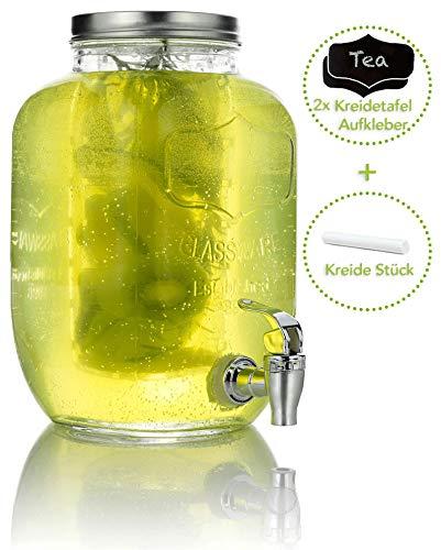 Mary\'s KITCHEN TOOLS Getränkespender 4 Liter aus Glas mit Fruchteinsatz | mit Zapfhahn | Wasserspender | Limonadenspender | Saftspender | Bowle | Dispenser | Einmachglas-Design (4 Liter)