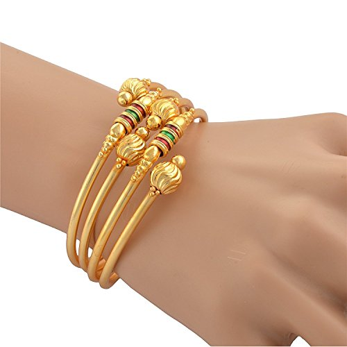 KENNICE Traditional Glod Plated Designer Bangles Jewellery for Women & Girls