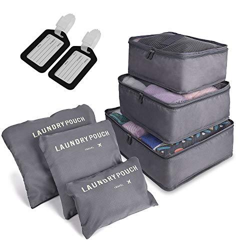 6 PCS Organizadores de Viaje para Maletas, Bolsas de Equipaje Impermeable Cubos Embalaje de Viaje Bolsas de Almacenamiento para Ropa Zapatos, Cosméticos Accesorios, Material Nylon (Gris) (Gris)