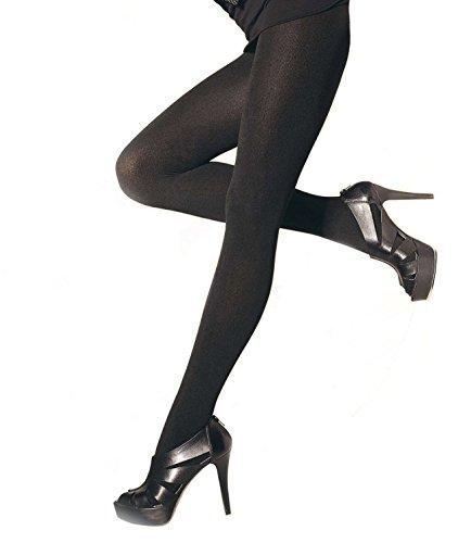 Schwarz Lycra Sheer (Gatta Fashion Rosalia 300den - dicke warme blickdichte Damen Feinstrumpfhose aus Lycra Satin Sheers - Größe 4-L - Schwarz)