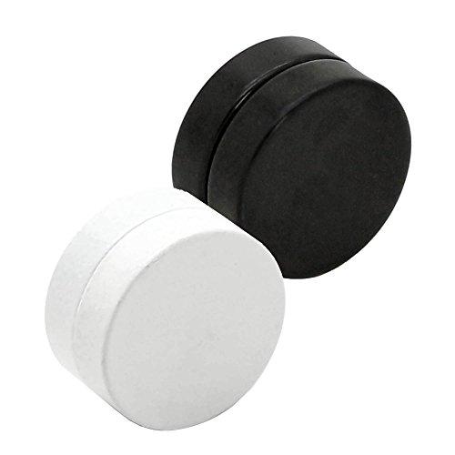 2 magnétique faux plugs fake tunnel plug couleur blanc noir sans trou de l'oreille 6 8 10 12 mm boucle d'oreilles clous d'oreilles schwarz-weiß / black-white - 10mm