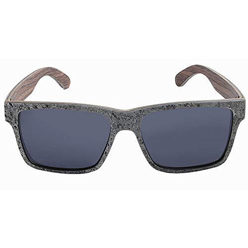 Herren Outdoor Freizeit Retro Wilde Quadratische Form Handgefertigt Herren Stein Und Holz Polarisierte Sonnenbrille TAC Objektiv UV Schutz Fahren Angeln Strand Outdoor Sonnenbrille (Farbe: G
