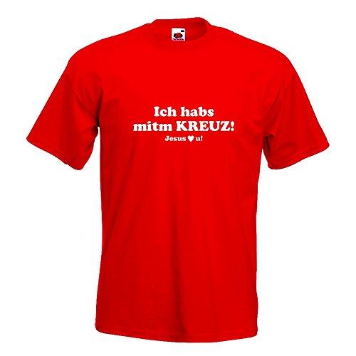 KIWISTAR - Ich hab Kreuz - Jesus love u T-Shirt in 15 verschiedenen Farben - Herren Funshirt bedruckt Design Sprüche Spruch Motive Oberteil Baumwolle Print Größe S M L XL XXL Rot