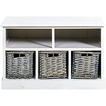 rebecca srl mueble auxiliar banco contenedor estante cestas madera mimbre casa de campo entrada