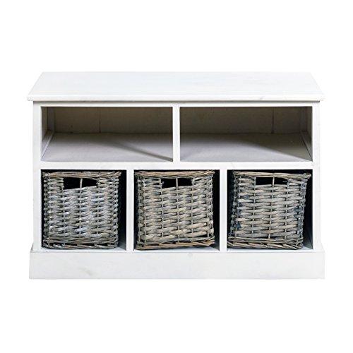 Mobili rebecca® cassettiera panca contenitore 2 ripiani 3 ceste legno bianco vimini country ingresso camera (cod. re4164)