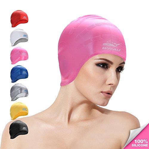Whale Wal Silikon Badekappe für Frauen und Herren Lange Wasserdicht Haar Schwimmen Hüte, rose