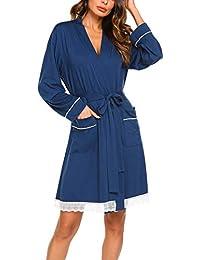 e29086178b51e9 MAXMODA Damen Kimono Morgenmantel V-Ausschnitt Robe Lang Bademantel mit 2  Tasches,1 Gürte