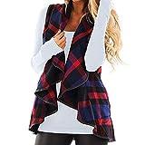iHENGH Damen Herbst Winter Warm Bequem Slim Lässig Mode Frauen Weste kariert ärmellose Revers offene Frontjacke Sherpa Jacke Mantel Jackentaschen