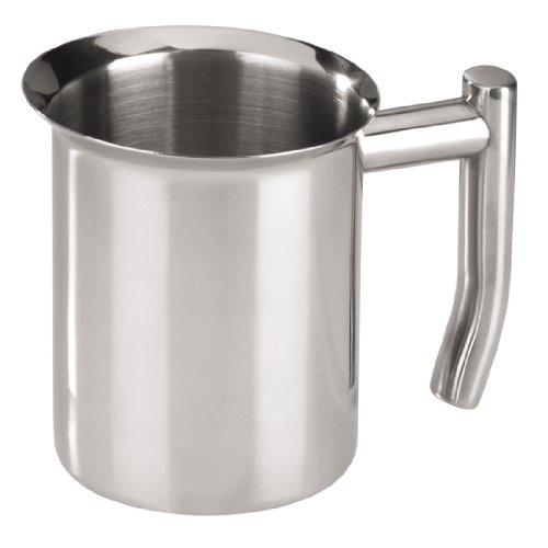 Xavax Milchkännchen aus Edelstahl 350ml (Milchkochtopf zum Aufschäumen, breiter Schüttrand für tropffreies Ausgießen, geeignet für Kaffeevollautomaten oder zum Kochen am Herd) Silber