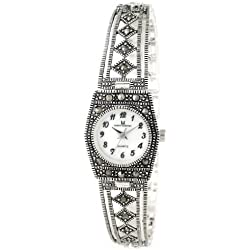 Art Deco-inspired sterling silver watch for women, mother of pearl face, genuine sterling silver, marked 925, hallmarked by the London Assay Office, attractively packaged, competitively priced.