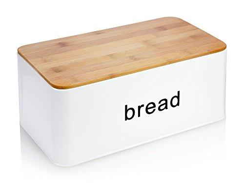Bluespoon 2in1 Brotkasten aus Metall mit Deckel aus Bambus | 31x18x14 cm | Benutzen Sie den Bambusdeckel auch als Schneidebrett | Bewahren Sie Ihr Brot luftdicht und hygienisch auf