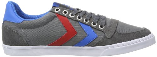 Hummel Fashion - Chaussures Hummel 'Slimmer Stadil Low', de sport - HUMMEL SLIMMER STADI, Baskets mode mixte adulte Gris (Castle Rock/Ribbon Red/Brilliant Blue)