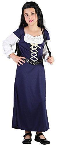 Mädchen Blau Mittelalterlich Maid Marion Renaissance Kostüm Kleid Outfit 4-14 jahre - Blau, 10-12 (Kostüme Renaissance Mädchen)