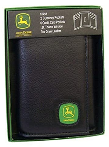 John Deere Mens Trifold Wallet Black 4012000