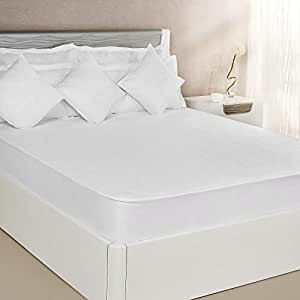 Amazon Brand - Solimo Waterproof Terry Cotton Mattress Protector, 75x72 inches, King Size (White)