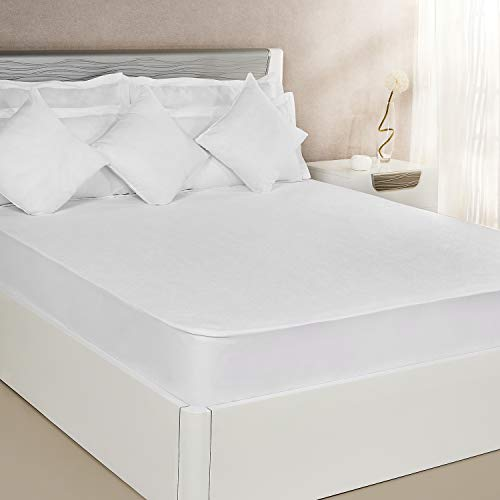 Amazon Brand - Solimo Waterproof Terry Cotton Mattress Protector, 78x72 inches, King Size (White)