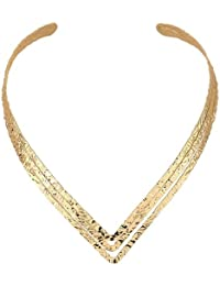 Young & Forever Modern Fantasy Choker Chunky Golden Luxury Elegant Statement Necklace For Women By CrazeeMania...
