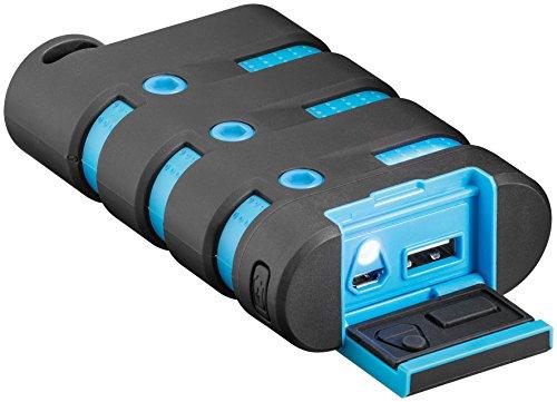 Goobay Station de recharge 9.0 pour extérieur - étanche et puissante avec 9.000 mAh - noir/bleu