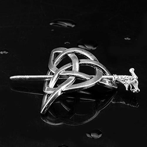 Keltische Haarspange für Damen, Exquisite Vintage, nordischer Stil, Antik-Silber, keltischer Knoten Wikinger Haarnadeln Clip mit Stick, für lange Haarzöpfe
