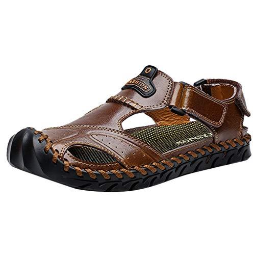 Fusion Ärmellos (Dnliuw Männer im Freien höhlten heraus lederne Sandelholze aus, Sommer Breathable Strand beschuht beiläufige rutschfeste Sandelholze Nebenflussschuhe Wasser-Schuhe)