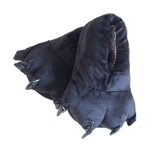 Bigood Chausson Adulte Enfant Velours Pantoufle Griffe Forme Antidérapant Noir 40-44